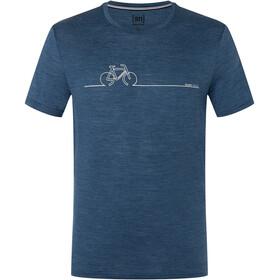super.natural Bike Line Tee Men, dark denim melange/feather grey